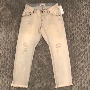 One Teaspoon Drop Crotch Cropped Jeans